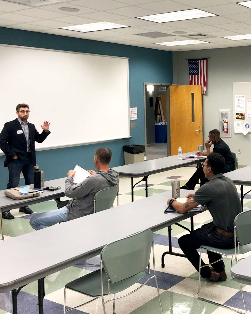 Mitchell Lomazov, financial advisor conducts a finace class for startup business owners
