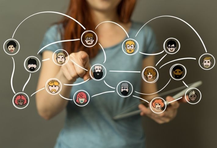 a woman with a graphic overlay of networked avatars